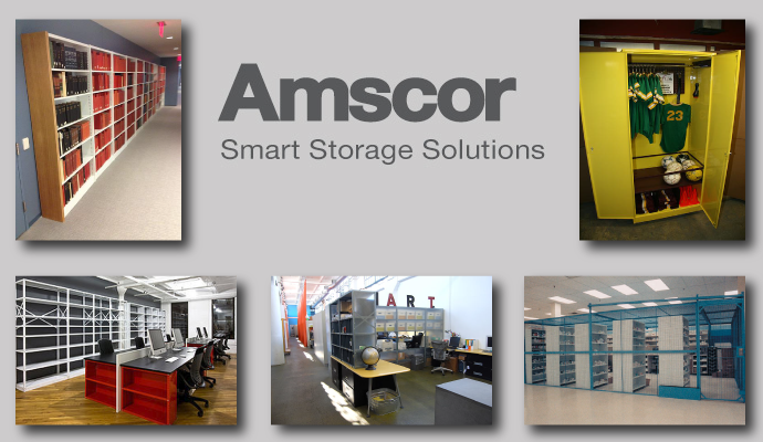 Amscor Storage Shelving, Library Shelving, Welded Shelving Color Steel Shelving, Open and Closed Shelving, Wire Partitions and Cages
