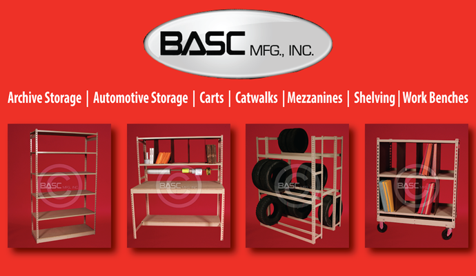 BASC Mfg., Archive Shelving, Automotive Storage, Mezzanines, WideSpan, Work Benches, Carts